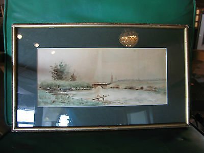 Vintage Antique Early to Mid 20th Cent. Eva West Signed Watercolor of Landscape