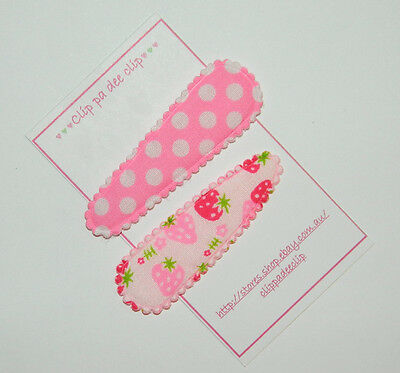 Baby/Toddler Girl Set of 2 ~Indie~ Pink Polka Dot Strawberry  Print Hair Clips