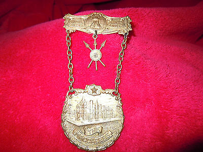 Vintage Antique Knights Of The Maccabees Large Brooch Pin Medal