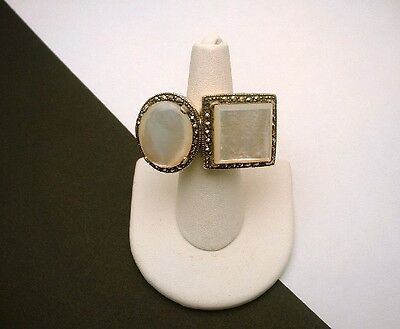 Sterling Marcasite Ring Silver Mother of Pearl Two in One Unusual