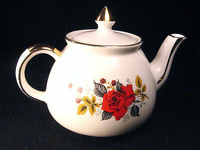 GIBSONS TEA POT Vintage English Staffordshire England Rose Flower Floral Small