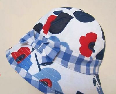 QUALITY Girls Kids Toddler Child Cotton Bucket Sun Hat Cap Wide Brim 3 Sizes