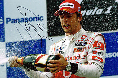 Jenson Button IN PERSON SIGNED Autograph 12x8 Photo AFTAL COA McLaren F1 Driver