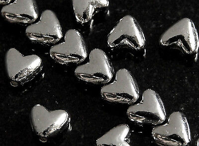 50 x  SILVER HEART TIBETAN STYLE SPACER BEADS, 6  MM