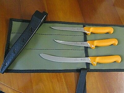 Swibo 3 Knife Set  Swiss Hard Stainless Boat Set With Heavy Aussie Canvas Wrap