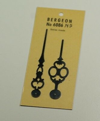 New Clock hands bergeon black minute 87mm pilot holes for colleting clockmakers