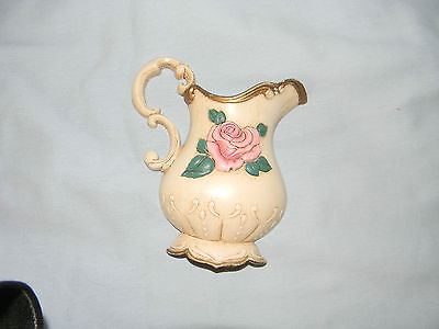 vintage plastic wall hanging  pitcher with rose  home interiors