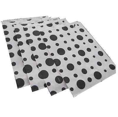 BLACK POLKA DOT / SPOT SPOTTY CANDY PAPER SWEET FAVOUR BUFFET BAGS - 5x7 INCHES