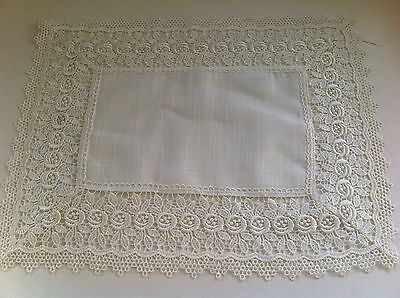 White Vintage Linen and Lace Table Runner  - 40cm x 120cm