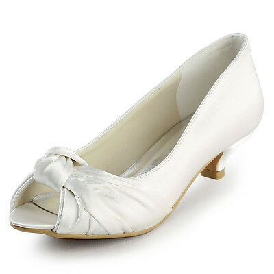 EP2045 Women Ivory Peep Toe Pumps Low Heel Knot Satin Bridal Wedding Party Shoes