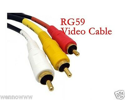 2 Pack RG59 3 Feet RCA M/M x 3 Audio/Video Cable Gold Plated