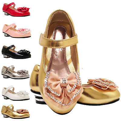 Girls Kids Children Party Diamante lovely wedding Metal Heels Shoes sz7-3