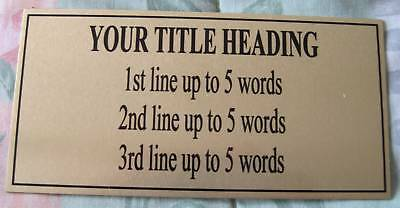 Design Your Own Plaque 120x60mm***Free Postage