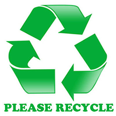 PLEASE RECYCLE STICKER for trash bins & cans. GO GREEN!