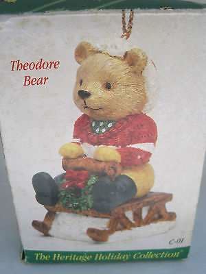 Vintage Heritage Mint Holiday Collection Christmas Ornament - Theodore Bear