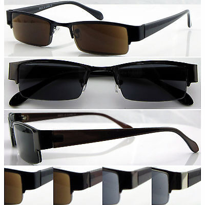 SL414 Mens Semi-Rimless Reading Sunglasses/+UV400 Protection/Classic & Simple