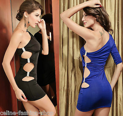 Sexy Minikleid Kleid mit Glitzersteine Metall Kleid Party Gogo Swinger 34 36 38