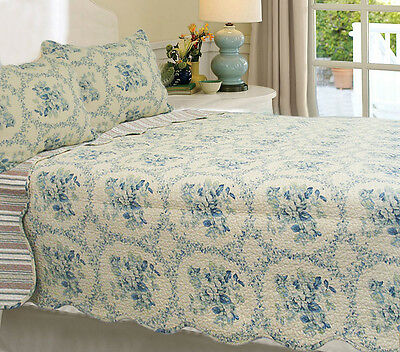 Blue Reminiscent Mood 3-Piece 100% Cotton Quilt Set, Bedspread, Coverlet