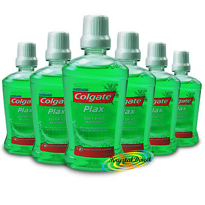 6x Colgate Plax Soft Mint Travel Size Mouthwash 60ml Alcohol Free Oral Care