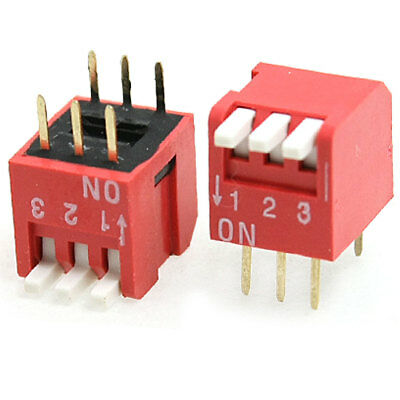 5 Pcs 2.54mm Pitch 3 Position Piano Type DIP Switch Red