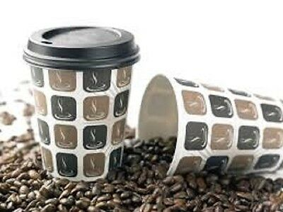 Disposable Mocha Hot Drink Paper Cups With/Without Lids From 4Oz To 16Oz Sizes
