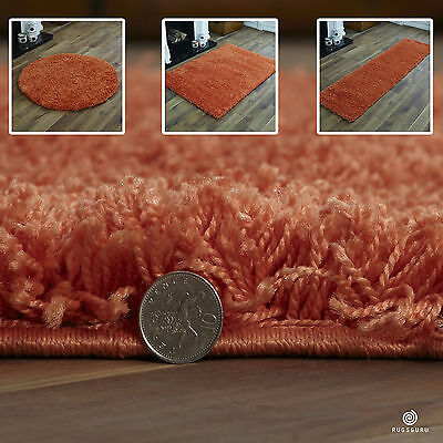 Orange Small X Extra Large Plain Rug - Thick 5Cm High Pile Modern Shaggy Rugs
