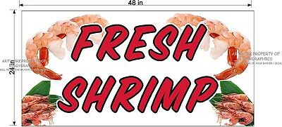2' X 4'  Fresh Shrimp Full Color Banner New