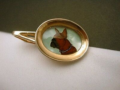 Essex Glass Tie Bar Vintage  Reverse Paint Boxer Dog Figural