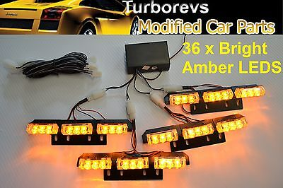 4 X Led Flashing Strobe Recovery Grill Beacon Amber Van Truck Car 4X4 Light 12V