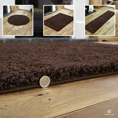 Brown Small X Extra Large Plain Rug - Thick 5Cm High Pile Modern Shaggy Rugs