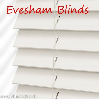 MADE TO MEASURE White Wood Wooden Venetian Blind 50MM Slats
