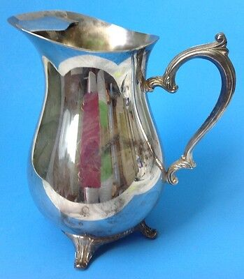 """Vintage Wm Rogers Silverplate Water Pitcher 817 w Ice Lip Footed Ornate 9"""" Tall"""
