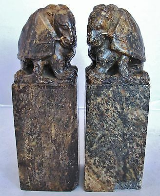 "Antique ? Pair of Chinese Hand Carved Soapstone DRAGON TURTLE Chop Seals (7.25"")"