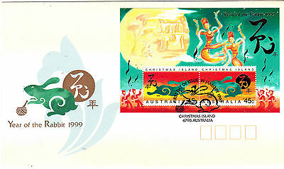 1999 Christmas Island Year Of The Rabbit FDC - Mini Sheet