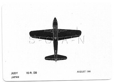 WWII Double Sided Recognition Photo Card- Airplane- Judy Fighter- Japan- Aug 44