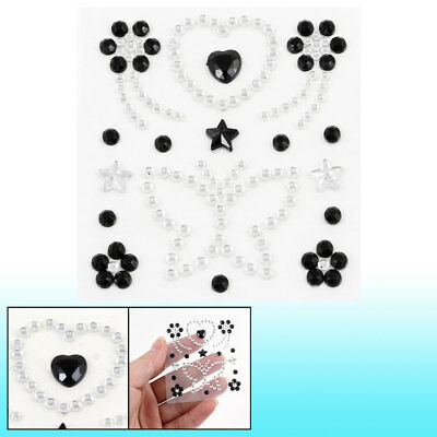 "Cell Phone Black Clear Faux Crystal Decor Florals 3D Seal Sticker 2.6"" x 3.1"""