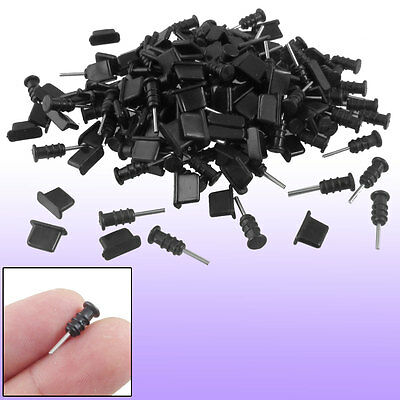 100 Pair Black Silicone Earphone Anti Dust + Charger Cap for Phone