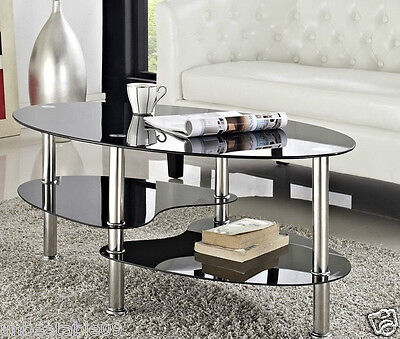 Cara Coffee Table and with or Nest of Tables Black Clear Glass Chrome Oval Set