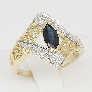 Sapphire Diamond 9K 9ct Solid Gold Antique Style Ring, SZ M/6.5, 30 Day Returns