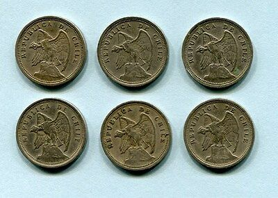 Chile 10 Centavos Lot 6 different World Coins Condor 1925 33 35 36 38 40 Nice