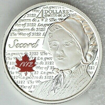 Canada 2013 $4 Laura Secord Pure Silver Proof Coin, Portraits of 1812 Series