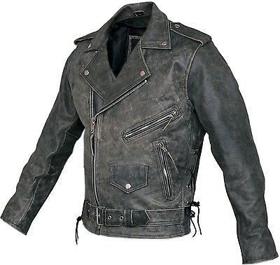 Mens Distressed Leather Marlon Brando Belted Biker Motorcycle Armoured Jacket