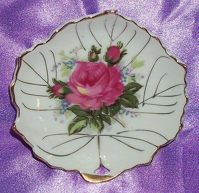 ~ Collectable ~ Japan Small Gold Rim Rose Leaf Pin / Butter Pat Dish ~ Vintage ~