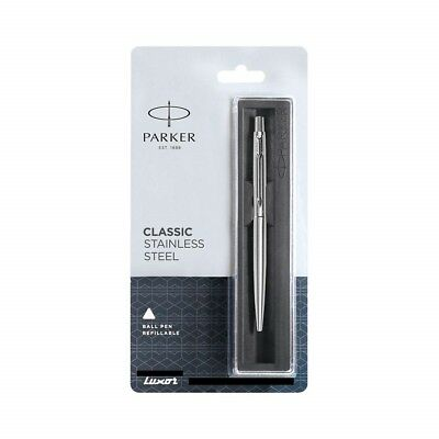 Parker Classic Steel Chrome Trim CT Ball Point Pen, 0.8mm Blue Fine Ink, Jotter