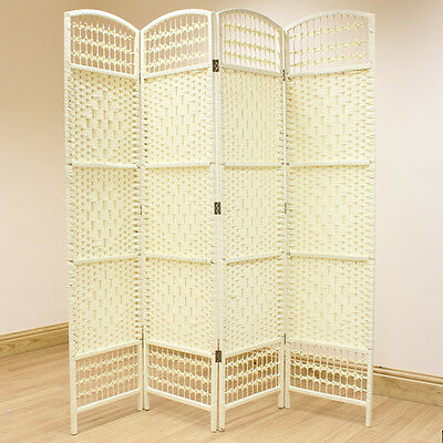 Cream 4 Panel Wicker Room Divider Hand Made Privacy Screen/Separator/Partition