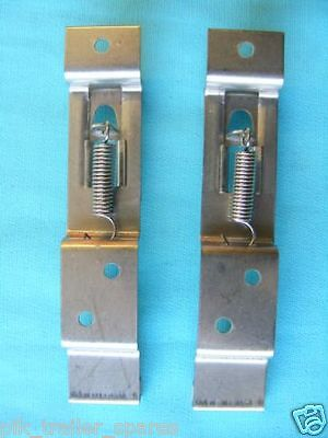 2 x Stainless Steel Oblong Number Plate Spring Clips for Trailer Horse Box