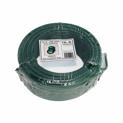 Green PVC Galvanised Steel Tension Straining Line Wire Fencing Chain Link - 25m
