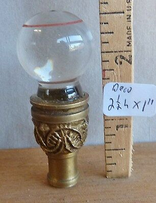 "Lamp Finial Deco/Mid Cast Brass base glass ball enameled stripe 2 1/2""h x 1""dia"