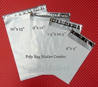 100 Poly Bag Shipping Envelope 4 Size Variety Pack  2.5 Mil Self-Sealing Mailers