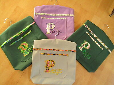 Handmade Waterproof Embroidered Peg Bag With Handy Pocket - Choose Colour